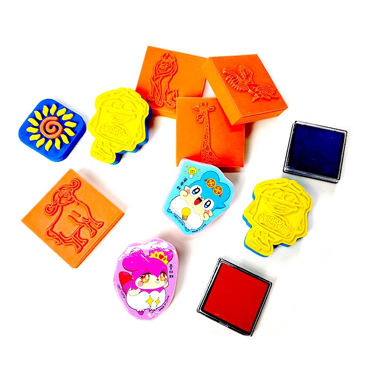 Safe material custom wood toy stamp set for kids