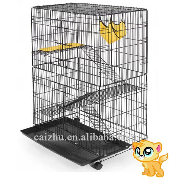 "22""(L) x 36""(W) x 48""(H) Black and wihte vein Iron wire tube Folding Big Metal Cat Cage"