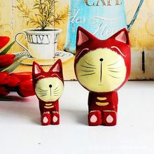 Set 2 hand painting wedding decoration wood cat models antique natural color custom animal rocking horse wood carving cat