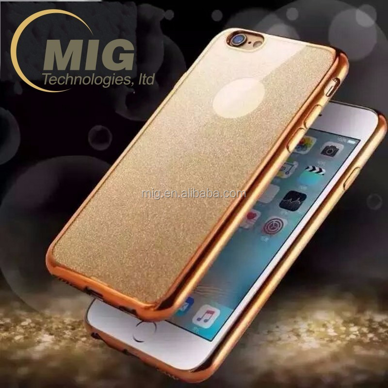 Alibaba China electroplating bumper and shining Glitter tpu case for apple iphone 6s Cell phone cover