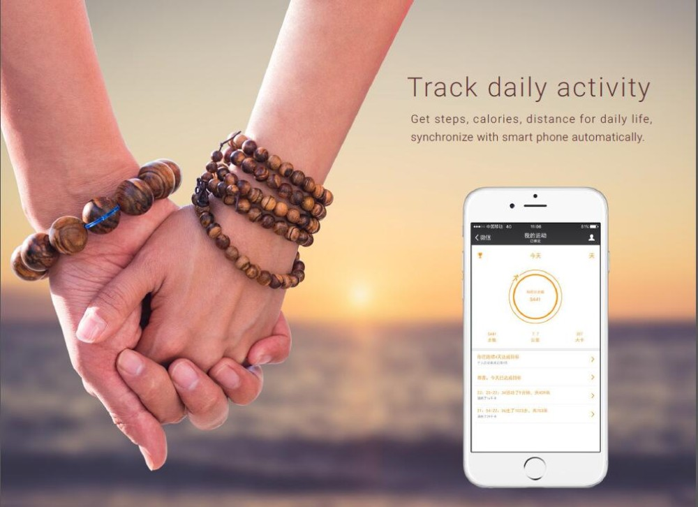 New style bluetooth fitness tracker sleep monitor with wood bracelet workable with ios and android APP