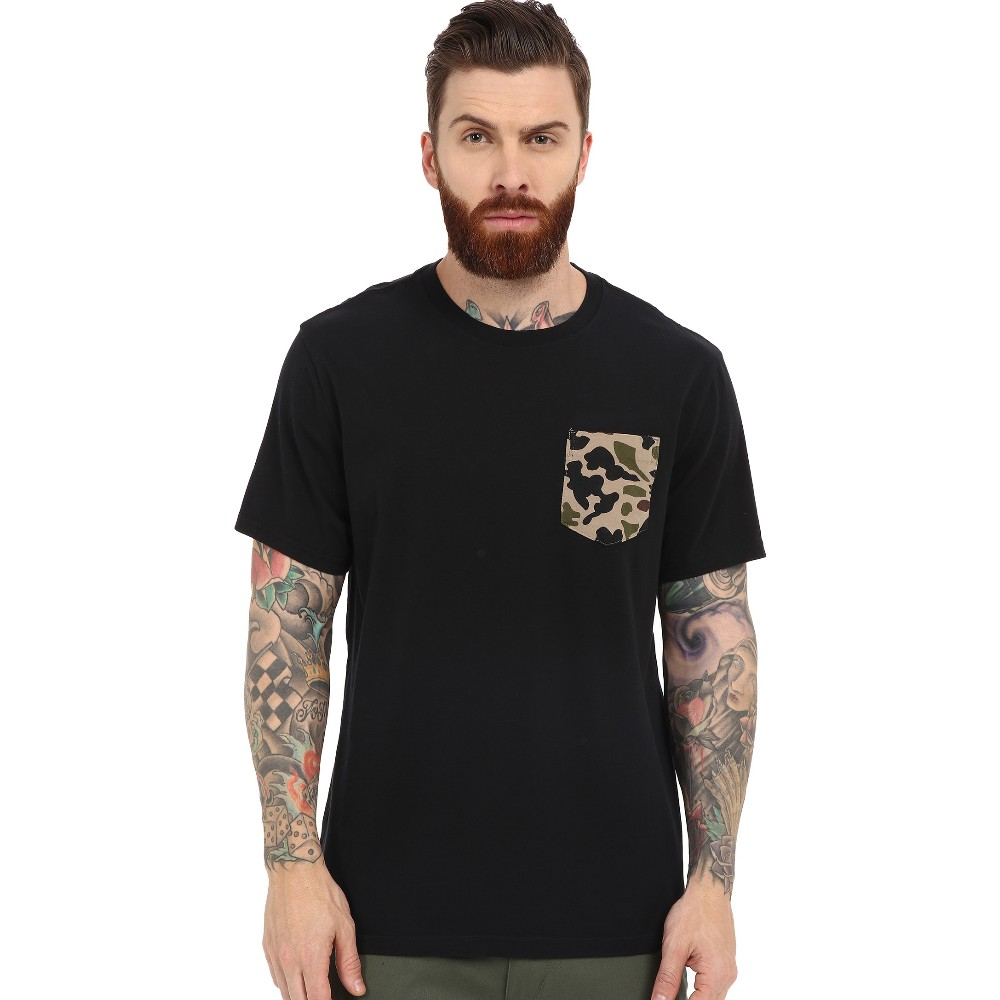 Black plain pocket with print cotton t shirt for men in for American apparel plain t shirts bulk