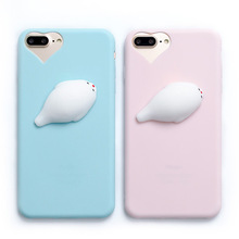 Lovely 3D Soft Seal Sea doll soft silicone phone Cases For iphone 6 6s 6plus 7 7Plus 5 se 5s cute cartoon back cover