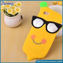 Factory OEM promotion gift cool banana style phone case 3D silicone back cover for iphone 6s