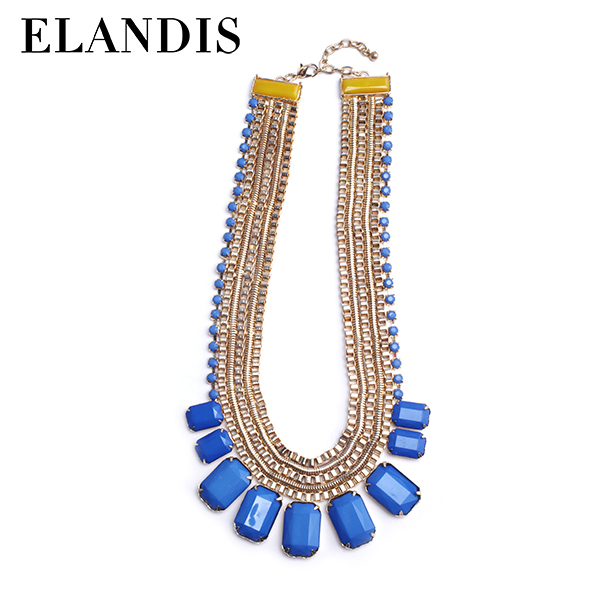 E-ELANDIS Royal blue sets fashion fake gold jewelry necklace