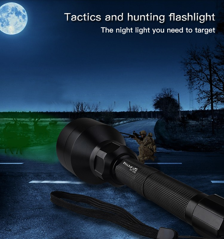 Tactics and hunting flashlight at night