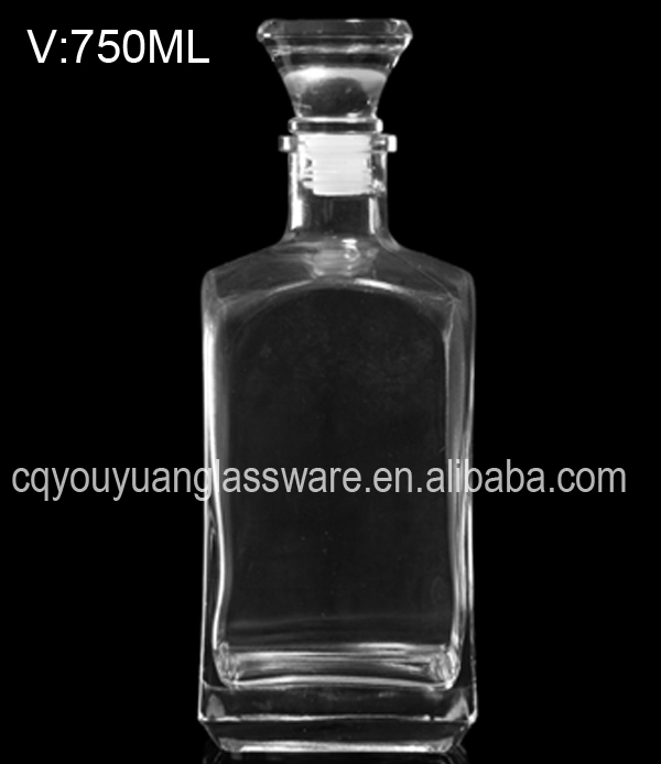 750 ml hot sale squre clear glass liquor bottles for sale
