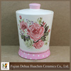 flower printing ceramic canister with lid tea sugar coffee canister kitchenware