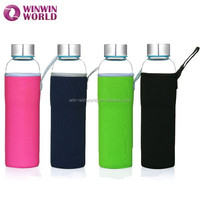 Promotional Christmas Gift Portable Neoprene Cover Sleeve Glass Drink Bottle/Carafe