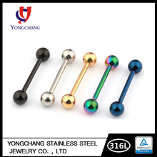 Stainless steel tongue ring stud two balls bar electrophoresis body piercing jewelry high quality cheap wholesale