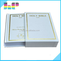 Customized printing hardcover holy bible book with book case from china printer