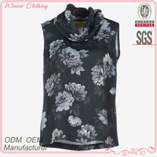women's clothing directly manufacturer sleeveless flora printed 2015 new style blouses