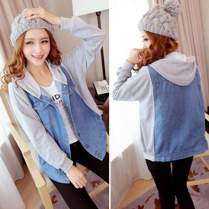 New high quality Cool Unique Women's Denim Coat Hoodies Outerwear Hooded Jeans Coat Jacket SV007357