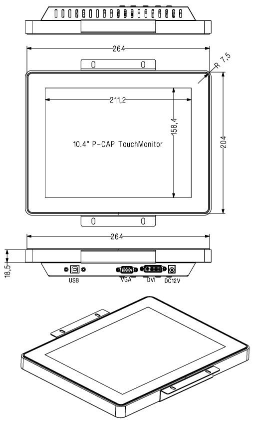 10.4inch Projected Capacitive Multi touch screen monitor