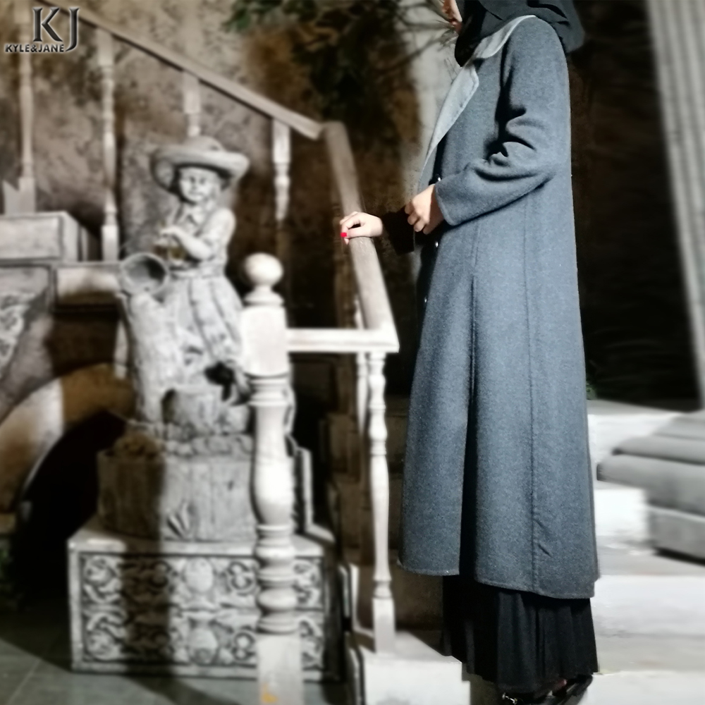 China supplier grey Pure Hand made cashmere maxi coat muslim women overcoat manufacturer