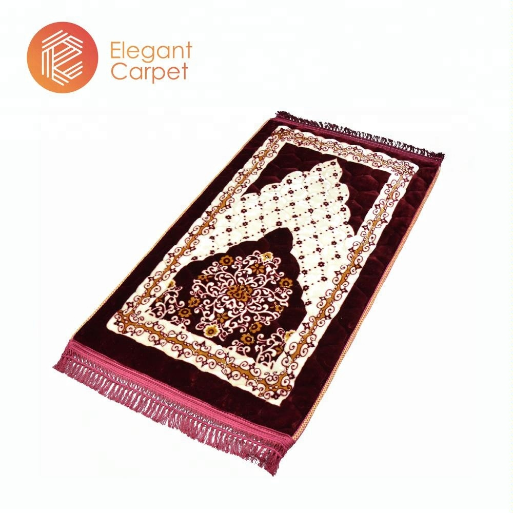 Cotton inserted portable printed travel prayer rug muslim
