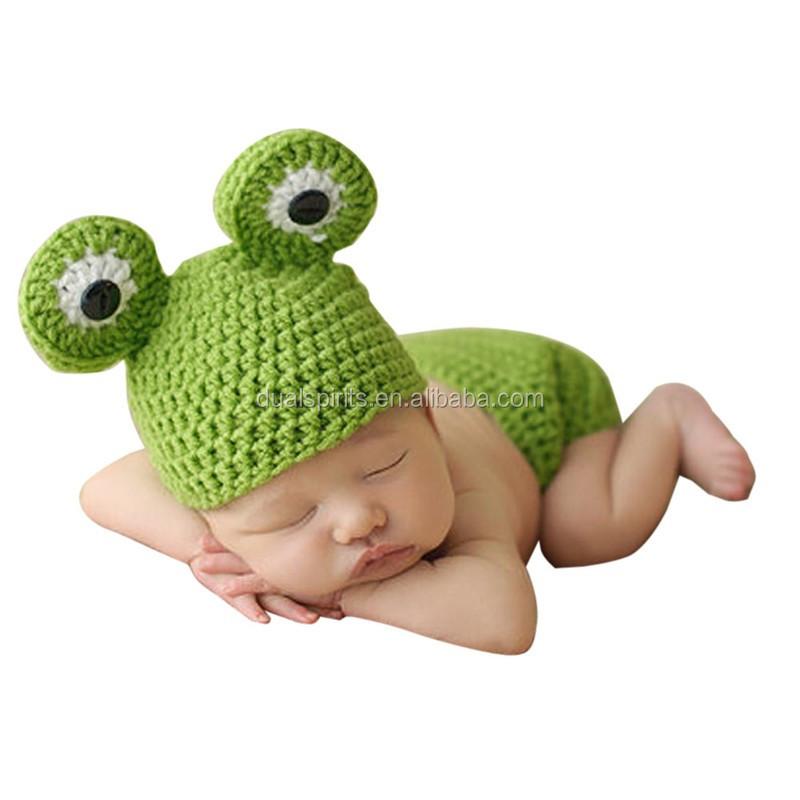 Rana mono recién nacido Crochet trajes cálido conjunto de niño tapa ...