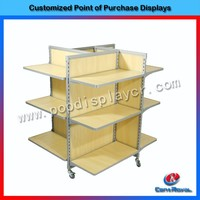 New products heavy duty wooden clothes display counter stand