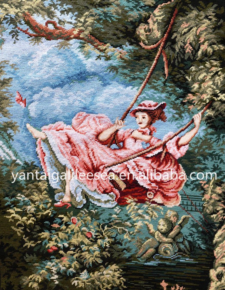 Genuine vintage French style handmade China embroidered woolen needlepoint wall hangings tapestry made in Yantai