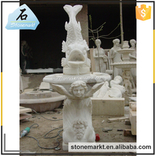 Fish sculpture stone carved white marble indoor fountain for sale