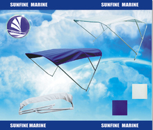 New waterproof oxford fabric Bimini 2arms/ 3bow Top Boat Cover with Storage Bag Blue/white