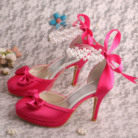 Pearl Ankle Strap Wedding Shoes Pink with Bows