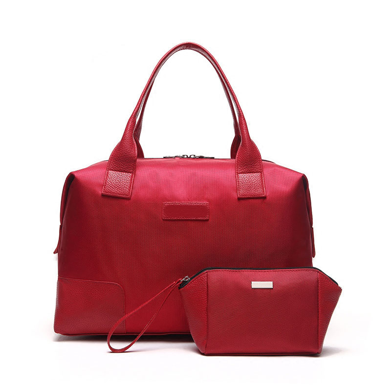 polyester leather waterproof red travel bag for women in Guangzhou
