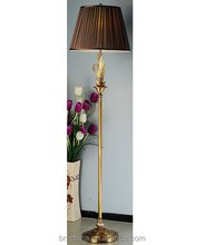 Antique golden brass floor lamp stand light with shade for decoration FL21666