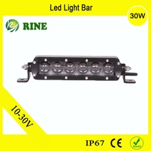 Single Row Auto Part Accessories 30W Led Light Bar For 4x4 Offroad Jeep SUV ATV BOAT Forklift