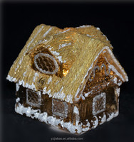 Miniature brown model house with bulb led, crackle finish wall, hemp-string roof, as christmas home decor from my ali express