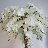 Indoor White Artificial Orchid Flower Tree