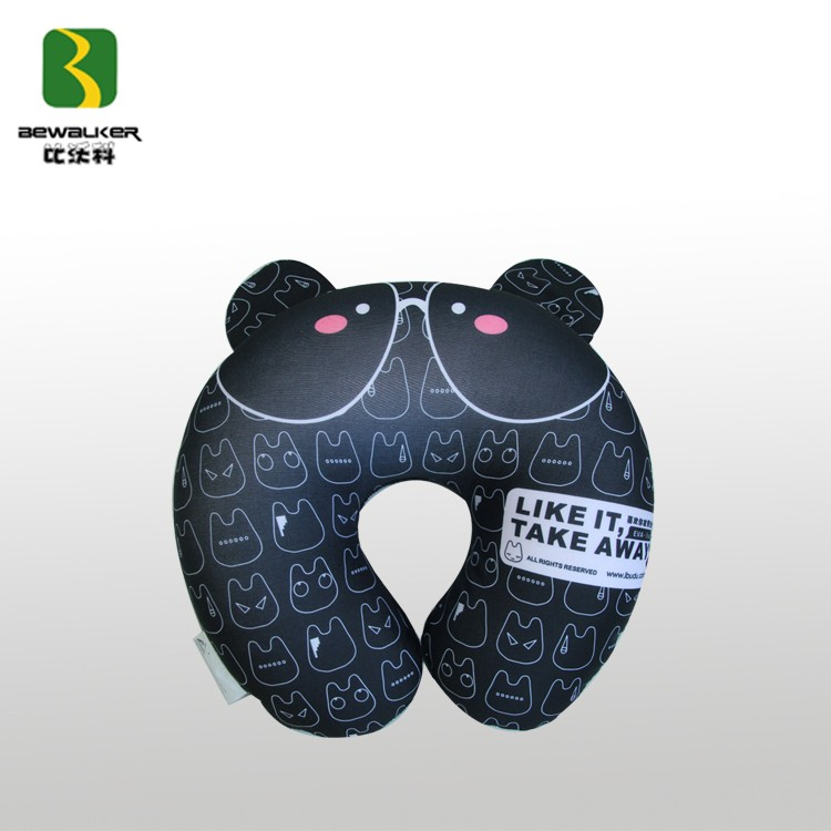 U Shape Black Cat Printed Micro Beads Kids Neck Travel Pillow