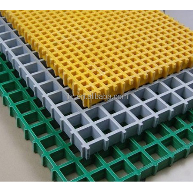 Molded fiberglass walkway floor drain yellow FRP grating for industrial platform