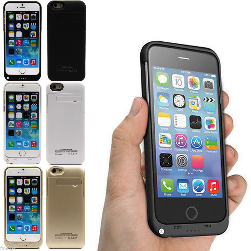 Wholesale 4800 mAH Charger Backup Battery Case Cover for iPhone 6 Plus with Kickstand, battery charger for phone case