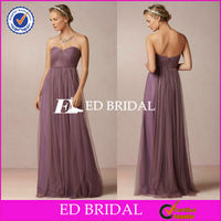 New Lovely Custom Made Strapelss Sleeveless Ruched Tulle Purple Maid Of Honor Dress