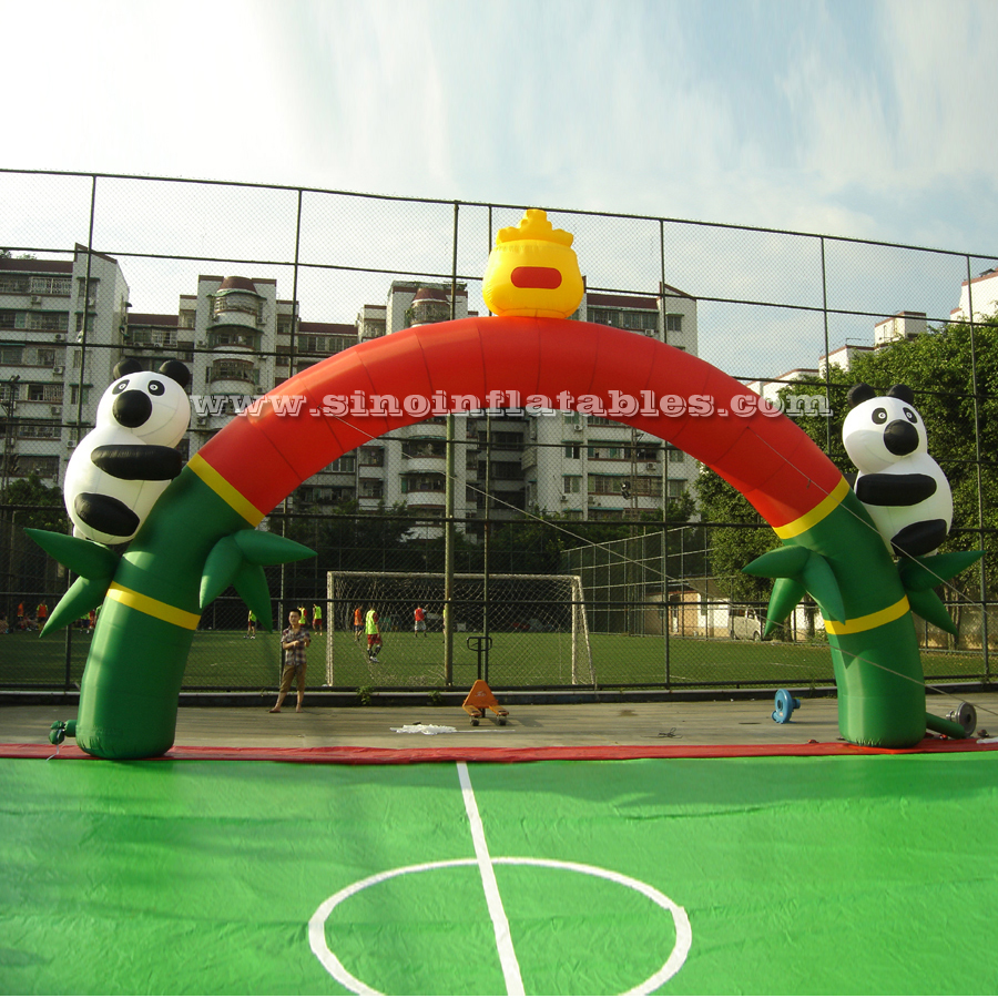 Custom made giant outdoor lovely advertising inflatable panda arch door for promotion