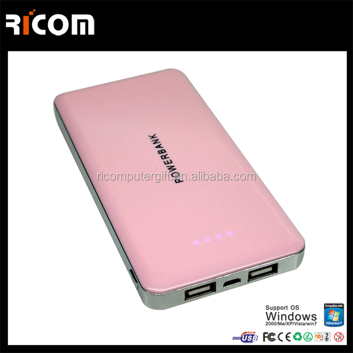 External Backup Battery Pack Charger for travelling hot sale Silver 12000 mah Power Bank External double output 5 v 2 a