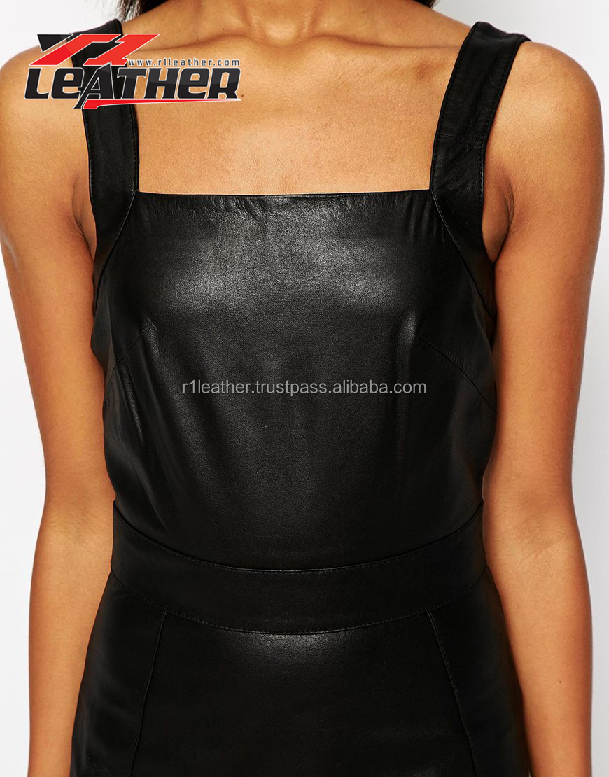 2015 New Arrival Designer Style Sleeveless O Neck Leather Patchwork Ladies Elegant Dress