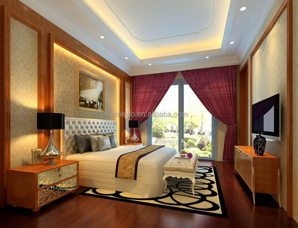 Bisini 3D interior rendering for luxury bedroom with complete furniture