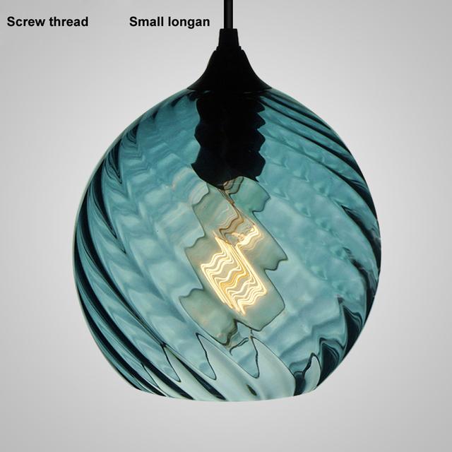 Indian blue screw thread led linear pendant lamp hand blown glass chandelier