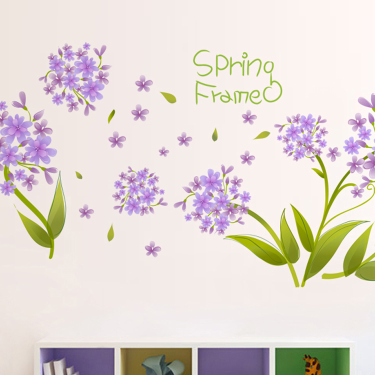 Purple Flower Butterfly Cartoon Cute Korea Design Decorative PVC Home Wall Sticker