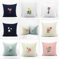 Lovely Embroidery Decorative Flower Throw Pillow Case Cushion Cover Hand Embroidery Cushion Cover
