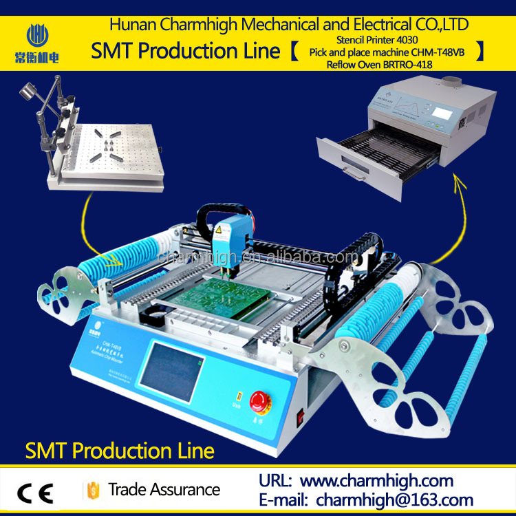 CHMT48VB 58 feeders+4030 Stencil printer + 2500w Reflow oven BRTRO-418 SMT production line