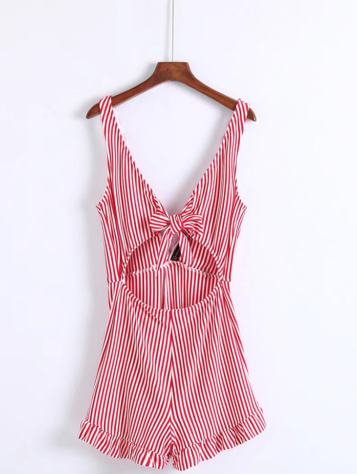Deep V Neck Womens Sexy Playsuit With Stripe