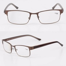 Dual color built-in flexible hinge rectangle light weight metal frame reading glasses