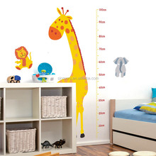 Children measurement pvc adhesive sti animal shape kids wall stickers growth chart educational wall decoration removable sticker