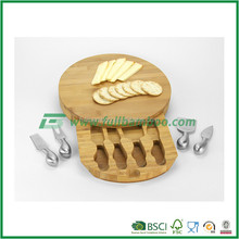 FB2-1216 round custom Bamboo Cutting Board for cheese and knives set