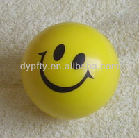 PU foam yellow stress smiley printing balls for promotion