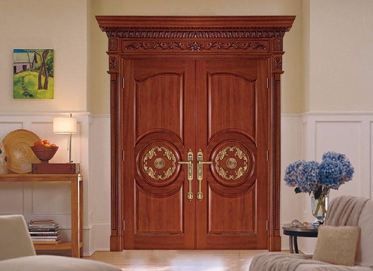 Solid Wood Doors Exterior Double Entry Door Hardware External Front ...
