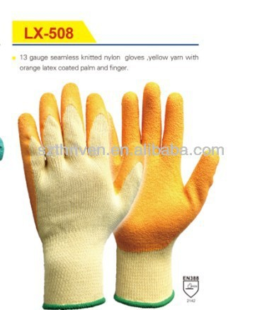 13G nylon/latex coated protective gloves/natural latex palm coated